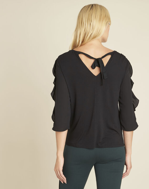 Cleo black dual-fabric blouse with frilled detailing (4) - 1-2-3