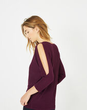 Pandore shiny blackcurrant sweater with bare arms eggplant.