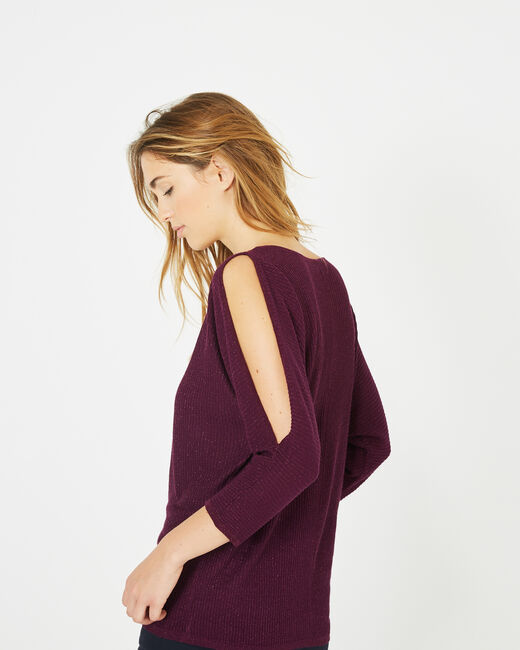 Pandore shiny blackcurrant sweater with bare arms (1) - 1-2-3