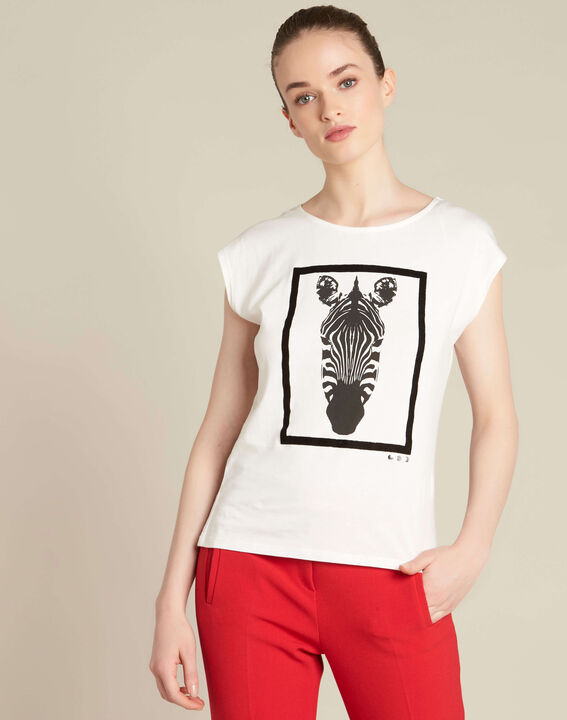 Ecrufarbenes T-Shirt mit Zebra-Print Echo (3) - 1-2-3