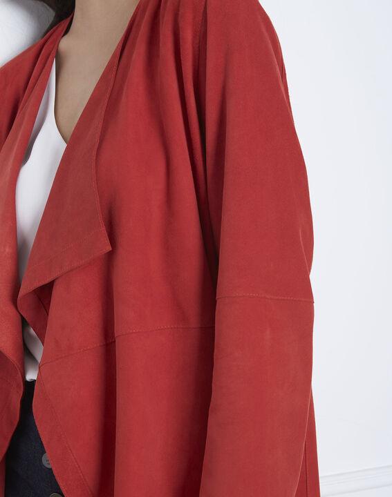 Manteau rouge col chale cuir velours Dgaston (3) - Maison 123