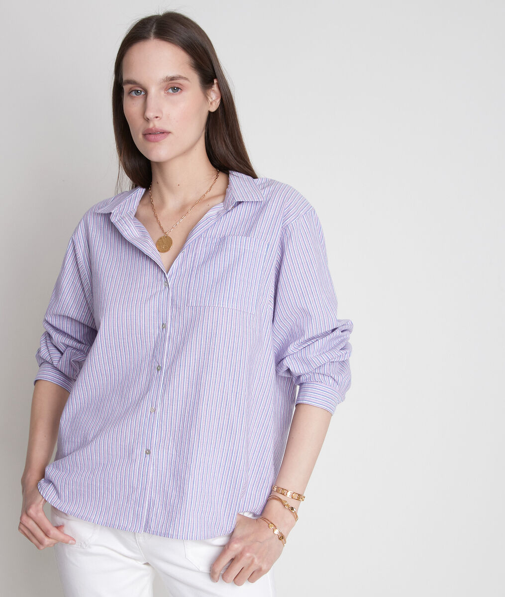 Paars breed hemd van katoen met strepen Adila PhotoZ | 1-2-3