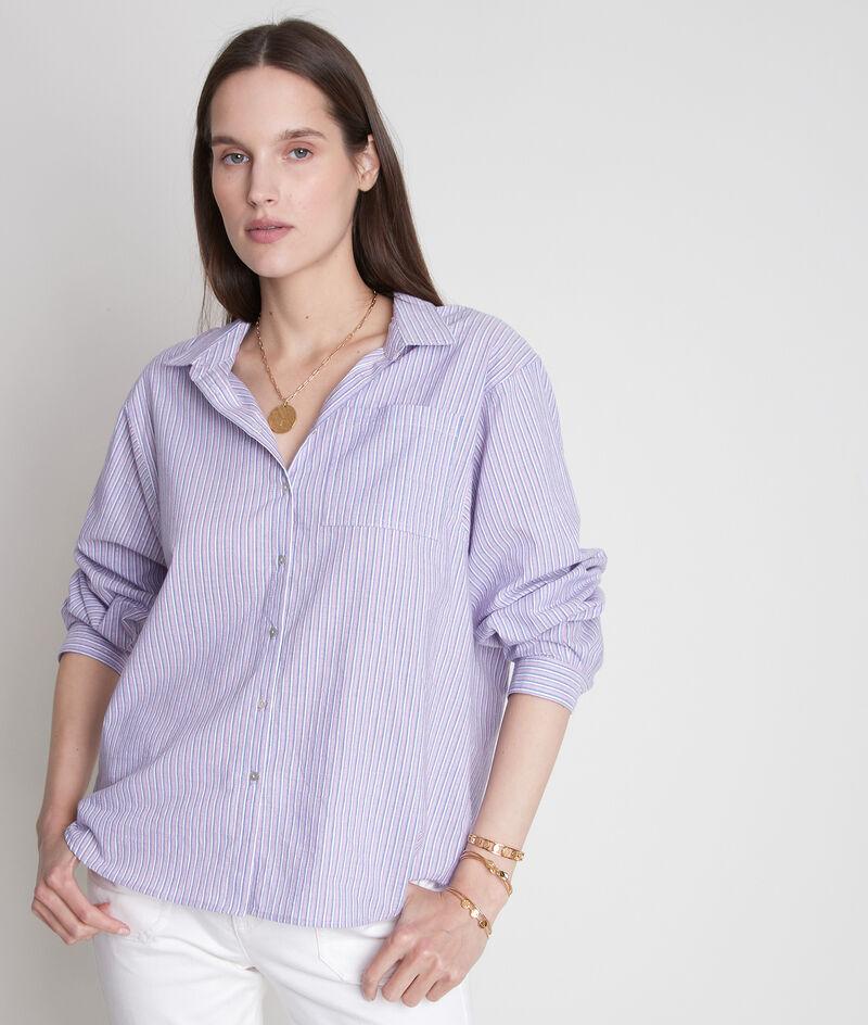 Chemise large en coton à rayures mauve Adila PhotoZ | 1-2-3