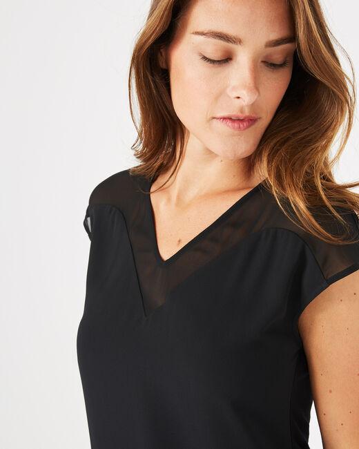 Tee-shirt noir bi-matière Beryl (2) - 1-2-3