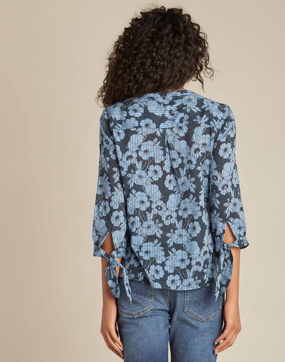 Gustine navy blue floral printed blouse (4) - 1-2-3