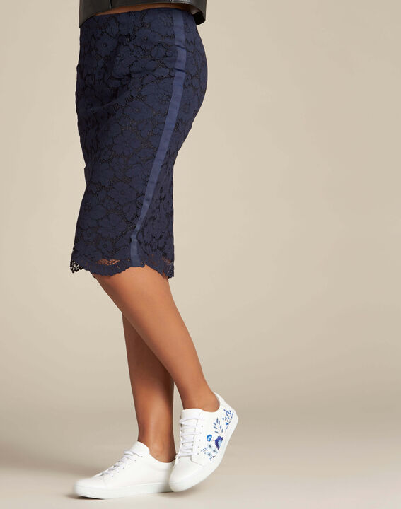 Lantana navy blue straight-cut skirt in lace (4) - 1-2-3