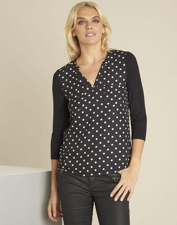Genna black polka dot bi-material blouse PhotoZ | 1-2-3