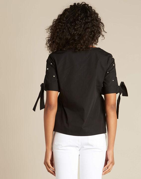 Blouse noire ornée de perles Glamour (4) - 1-2-3
