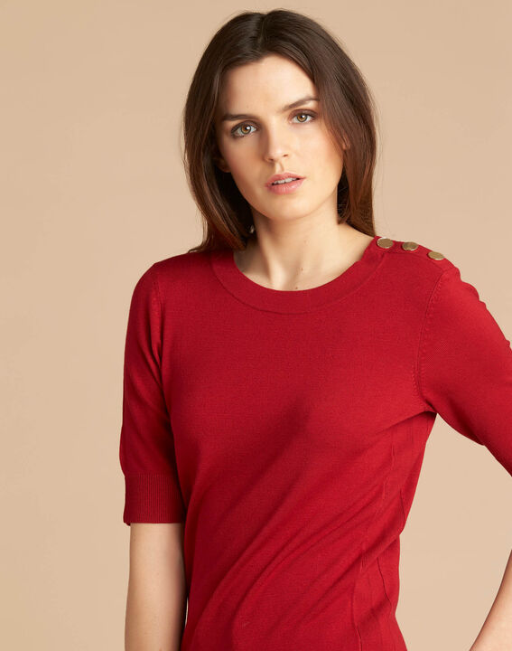 Natacha red sweater with rounded neckline PhotoZ | 1-2-3