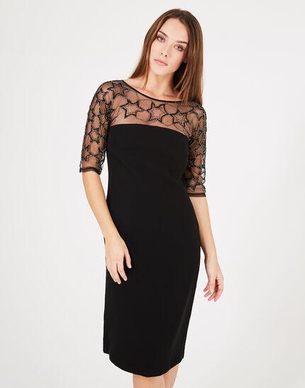 Schwarzes Kleid mit Tüll-Einsatz und Stickerei Grace (3) - 1-2-3