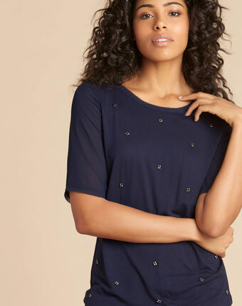 Eclipse navy blue polka dot t-shirt with beading and georgette sleeves navy.