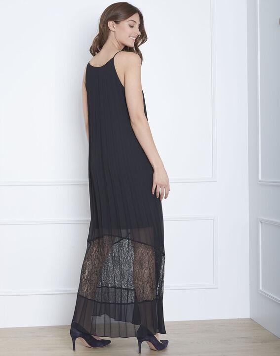 Robe noire plissée longue dentelle Hedda (4) - Maison 123