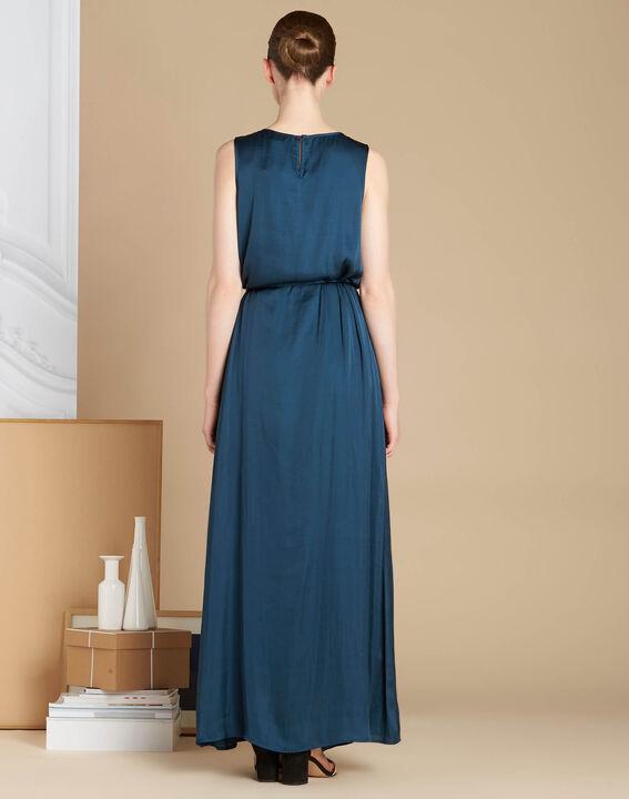Waldgrünes langes Kleid mit Satin-Effekt Ivana (4) - 1-2-3