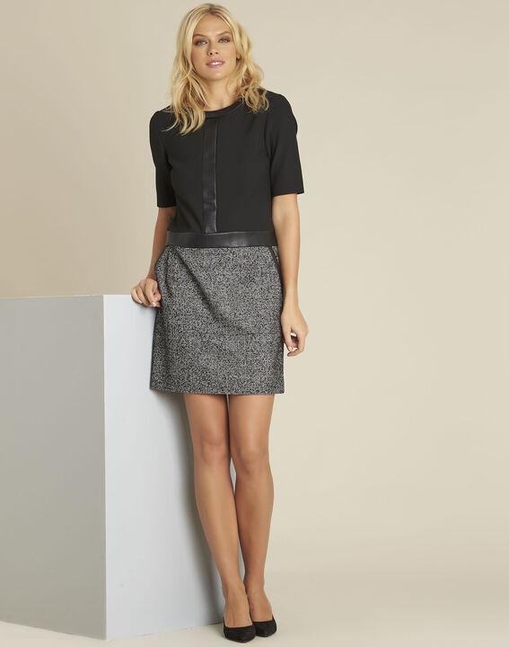 Dizzy black bi-material dress (3) - 1-2-3