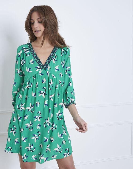 Robe vert clair imprimé fleuri Latika (1) - Maison 123