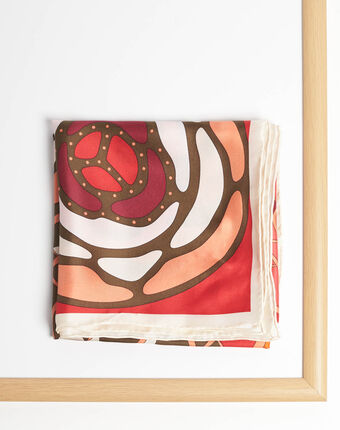 Alegria red square silk scarf with a floral design red.
