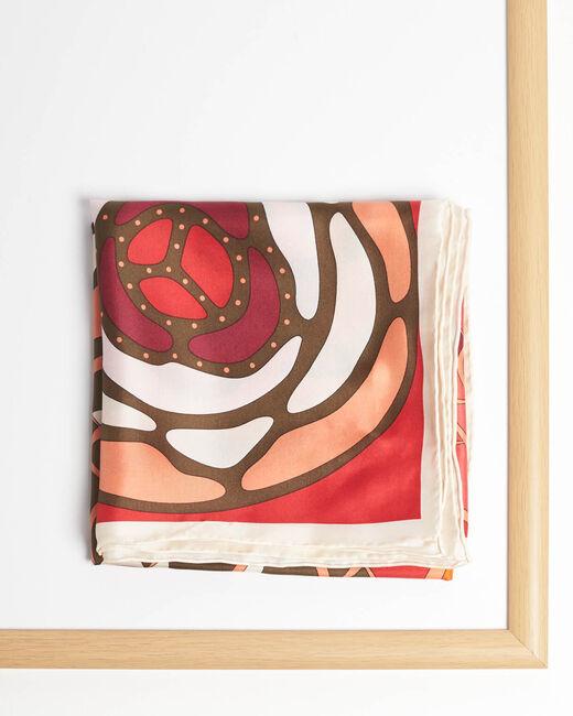 Carré de soie motifs floraux rouge Alegria (1) - 1-2-3