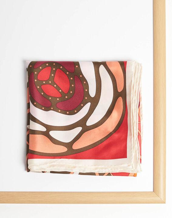 Carré de soie motifs floraux rouge Alegria (2) - 1-2-3