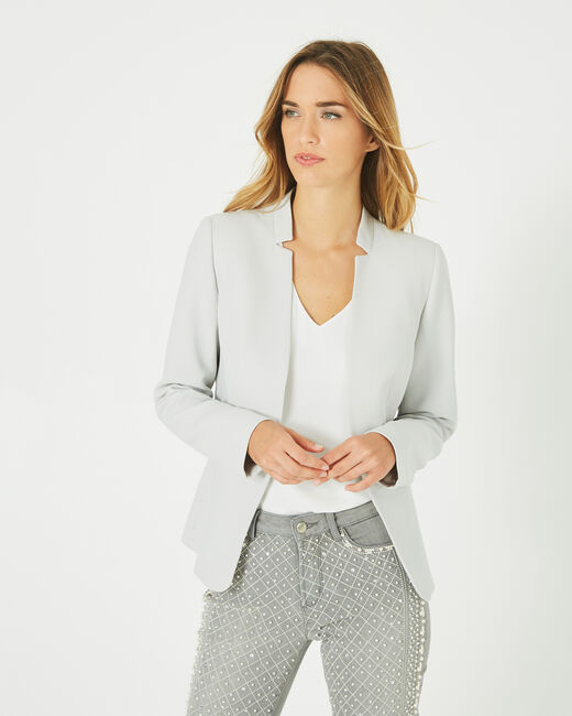 Veste de tailleur gris pâle à revers Bea (2) - 1-2-3