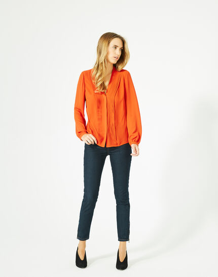 Doris orange blouse with long sleeves (4) - 1-2-3
