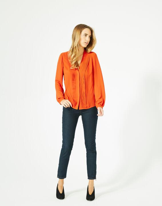 Blouse orange manches longues Doris (4) - 1-2-3
