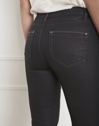 Zwarte slim fit 7/8-jeans met coating opera noir.