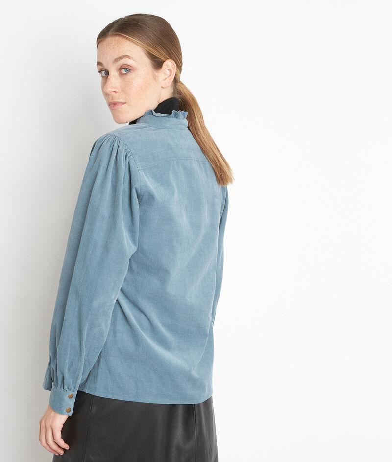 Blauw hemd van fijngeribd velours Jeraldine PhotoZ | 1-2-3