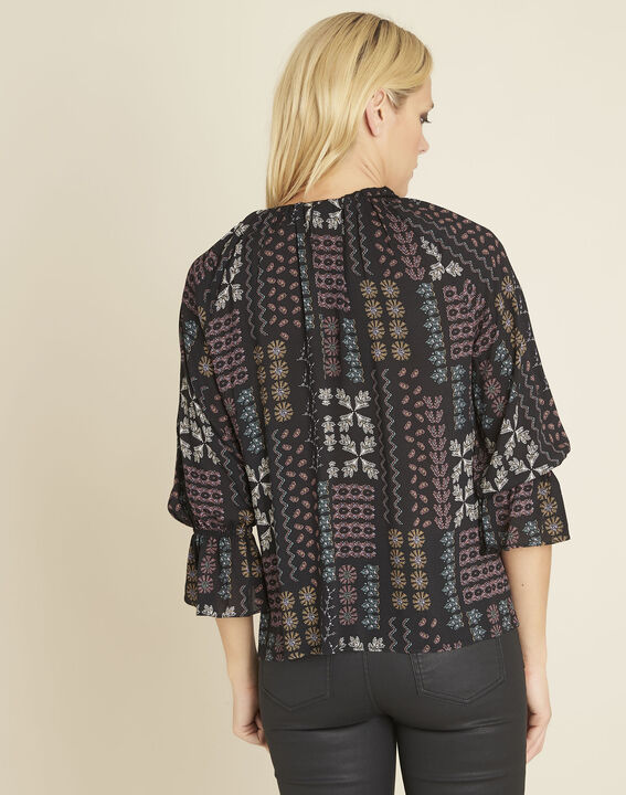Colombe printed blouse with decorative neckline (4) - 1-2-3