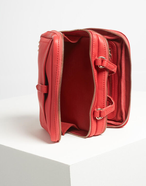 Dolly red shoulder bag with golden zip PhotoZ | 1-2-3