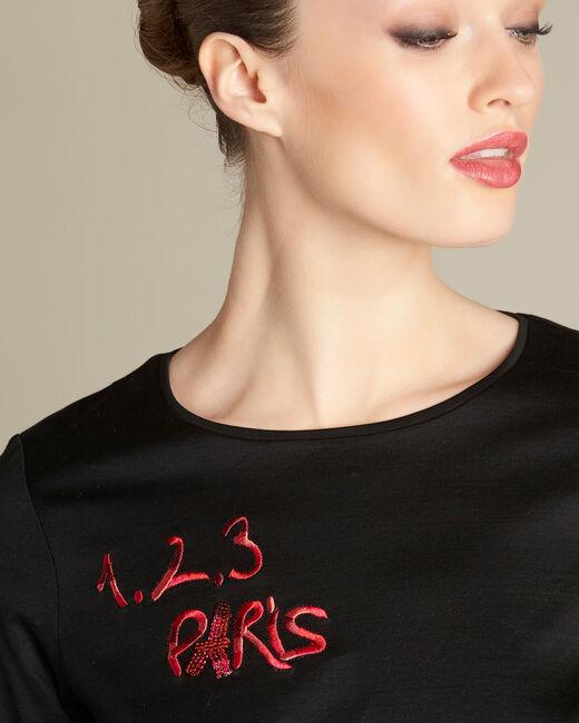 Schwarzes T-Shirt mit 123 Stickerei Ellipse (2) - 1-2-3