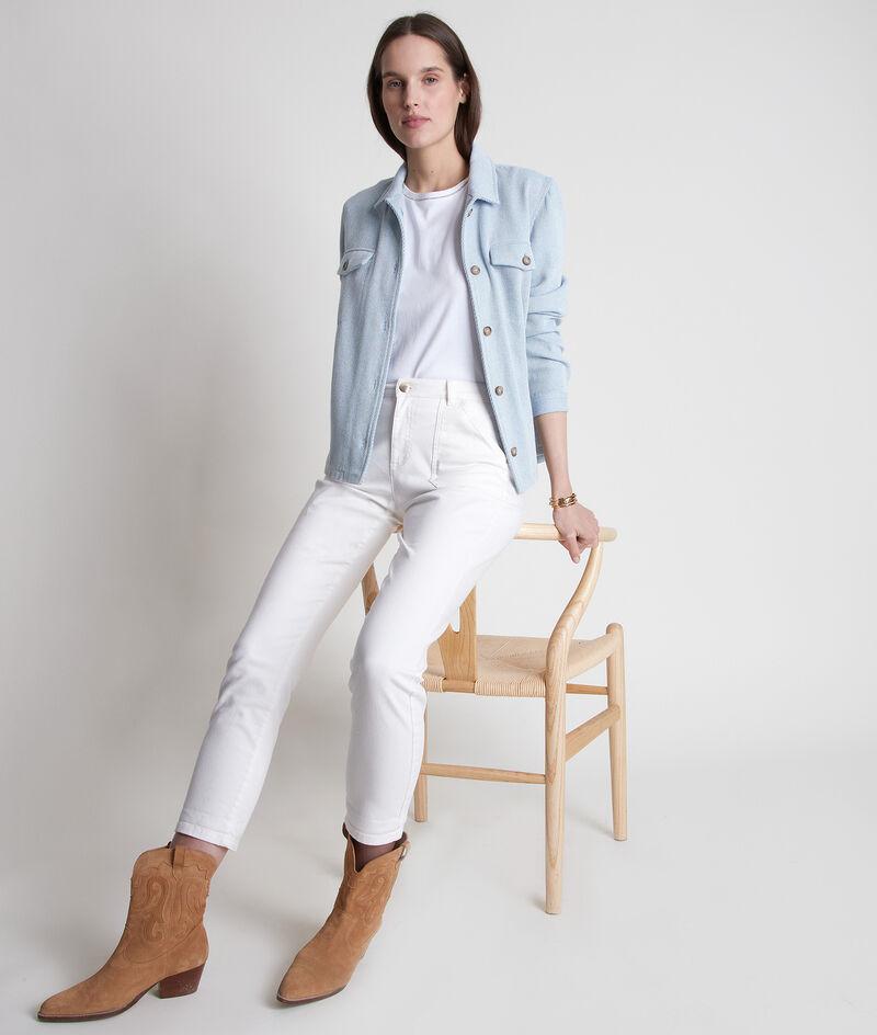 T-shirt en coton biologique à col strassé blanc Inox PhotoZ | 1-2-3