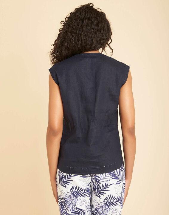 Gina navy blue linen top with Mandarin openwork collar (4) - 1-2-3