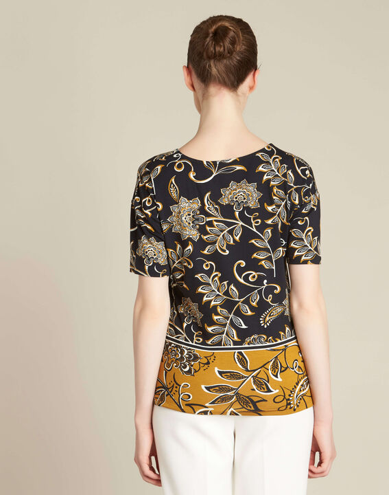 Tee-shirt noir imprimé foulard Encens (4) - 1-2-3