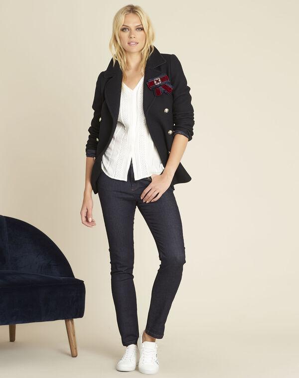 Ecru blouse met inzetstuk van kant Cassandra (2) - 37653