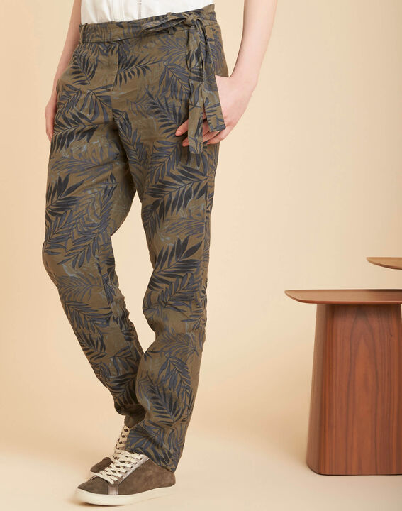 Jill tapered khaki palm printed linen trousers (3) - 1-2-3