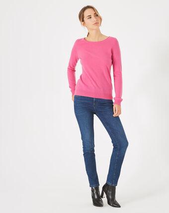 Petunia fuchsia cashmere sweater with round neck light fuchsia.