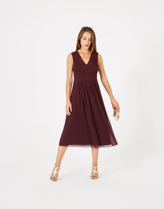 Giselle dark red pleated dress PhotoZ | 1-2-3