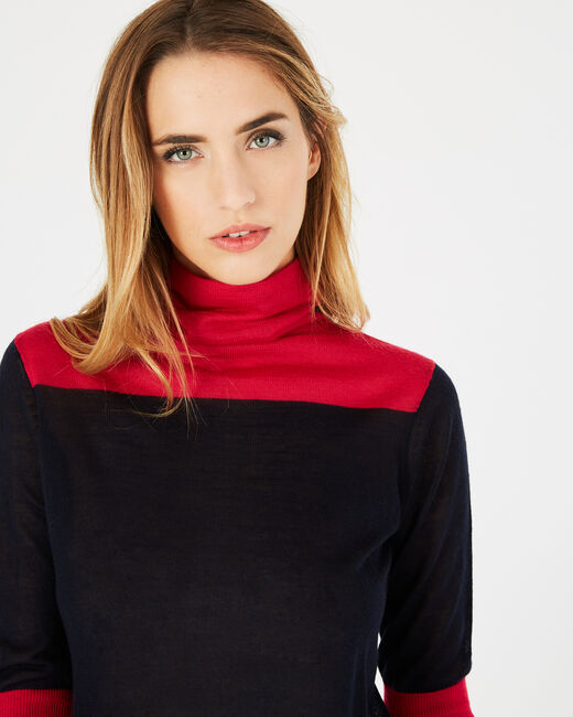 Poire striped navy sweater with polo-neck (2) - 1-2-3