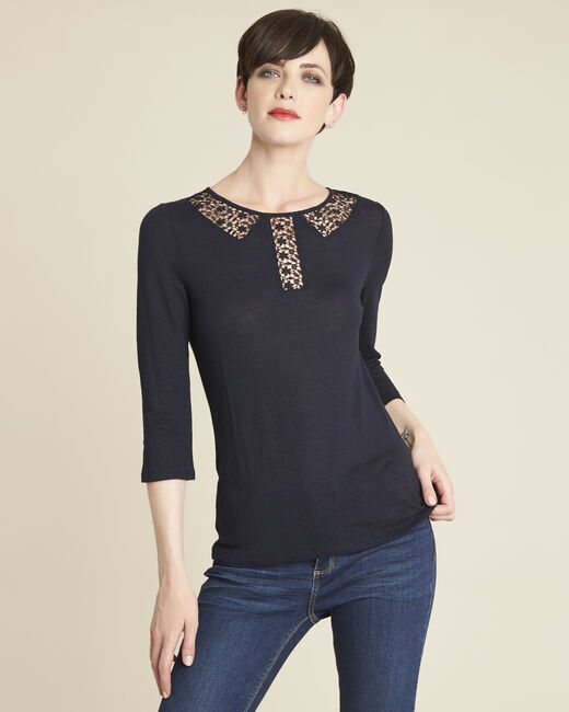 Gaiete navy T-shirt with lace neckline (1) - 1-2-3