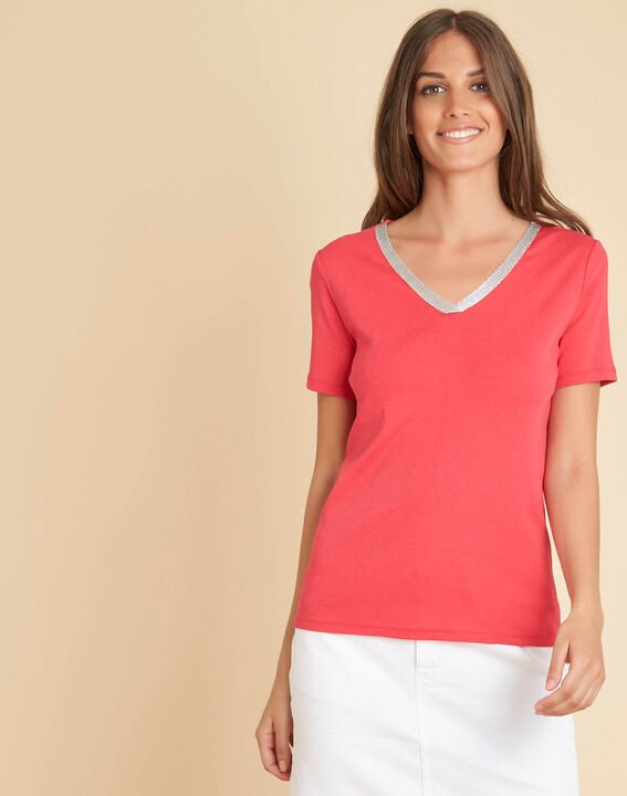 Tee-shirt rouge encolure fantaisie Etincelant (3) - 1-2-3