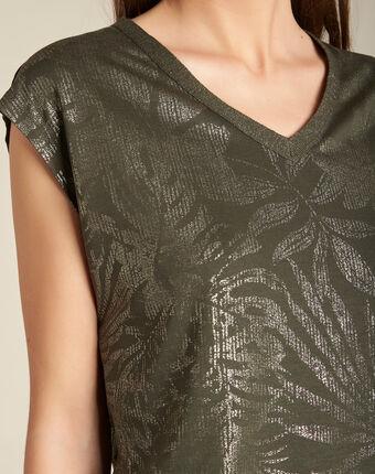 Enight khaki t-shirt with shiny v-neckline kaki.