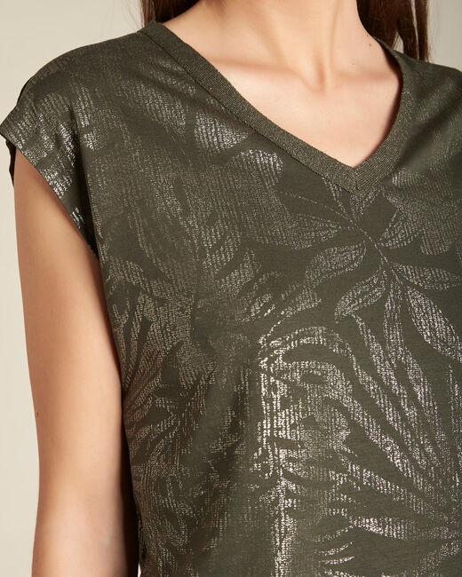 Khakifarbenes T-Shirt mit glänzendem Ausschnitt Enight (1) - 1-2-3