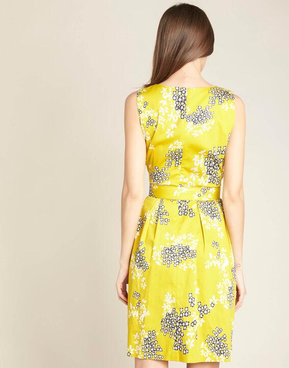 Gelbes Kleid mit Blüten- und Blätterprint Irma (4) - 1-2-3