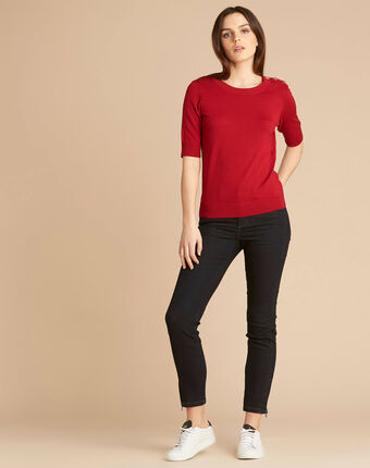 Natacha red sweater with rounded neckline crimson.