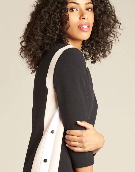 Schwarzes Kleid mit kontrastierender Patte und seitlichen Knöpfen Pistache PhotoZ | 1-2-3