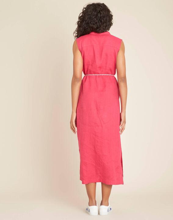 Papillon log fuchsia linen shirt-dress (4) - 1-2-3