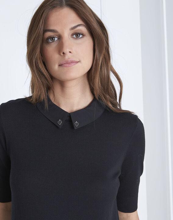 Schwarzer Pullover mit Hemdblusenkragen As (3) - Maison 123