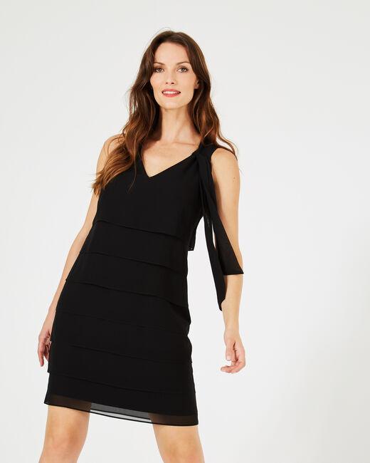 Schwarzes Volant-Kleid aus Seide Froufrou (2) - 1-2-3
