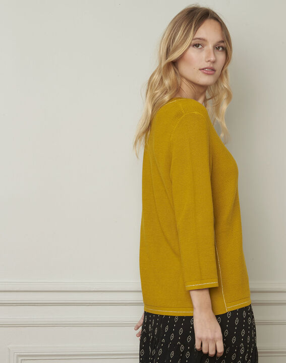 Avocado yellow pullover with buttons and lurex details (3) - Maison 123