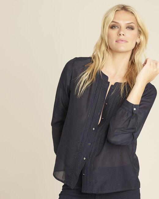 Marineblaue Bluse aus Baumwolle und Seide Camille (2) - 1-2-3